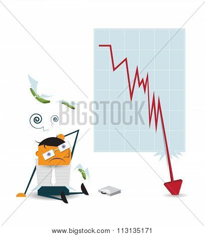 Business man shocked when checking data chart - falling down chart is confused