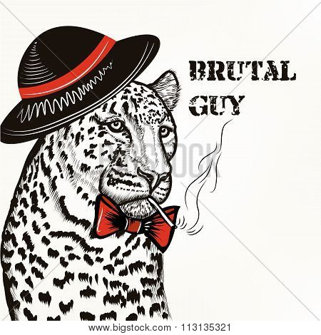 Fashion Background With Stylish Leopard Guy With Cigarette Trendy Background
