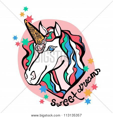 Sweet Dreams. Unicorn and ice cream. White Horse. Sprockets. Isolated object on white background.