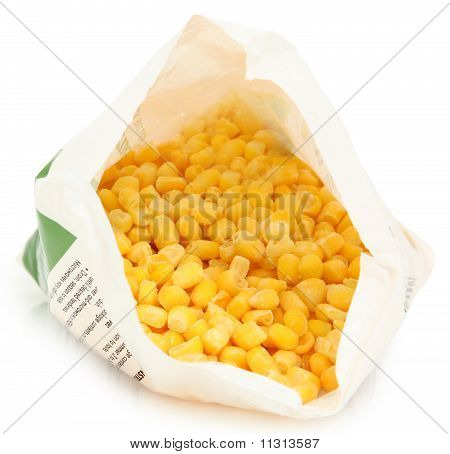 Frozen Corn In Open Bag