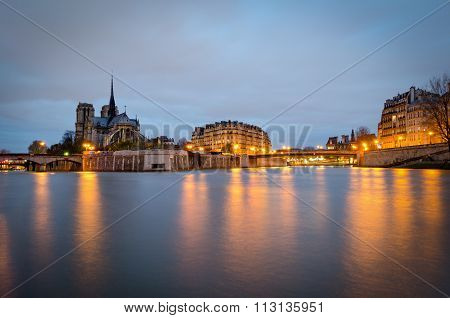 Notre Dame Cathedral And River Seine At Twilight (paris)