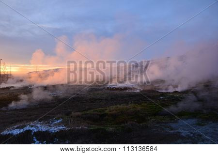 Haukadalur geothermal area in Iceland