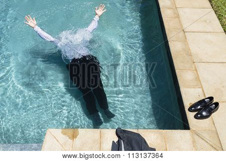 Businessman Underwater Pool