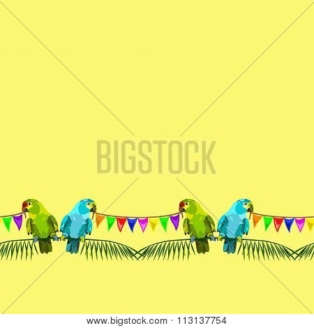 Seamless Pattern Of Two Parrots With Varicolored Flags On Yellow Background