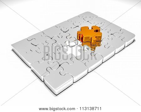 3d render of metallic jigsaw puzzle with an outstending golden piece