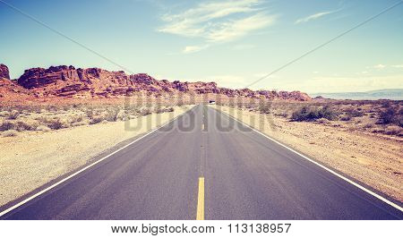 Vintage Toned Photo Of An Endless Road