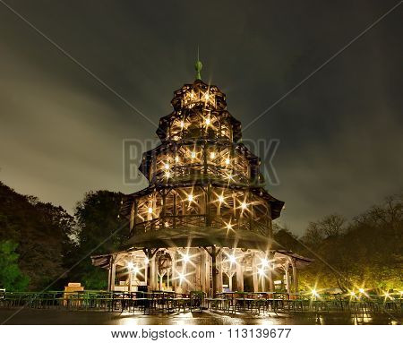 Chinese Tower In Munich, Germany, Europe