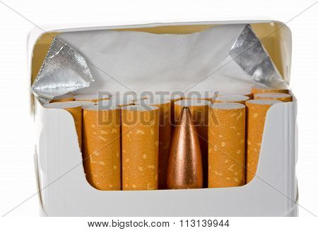 Cartridge In Cigarette Packet Isolated On White