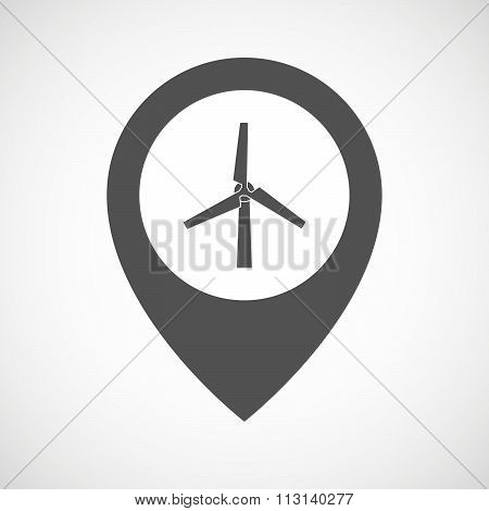 Isolated Map Marker With A Wind Generator