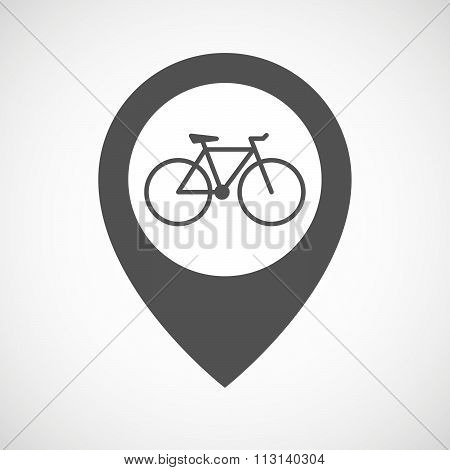Isolated Map Marker With A Bicycle
