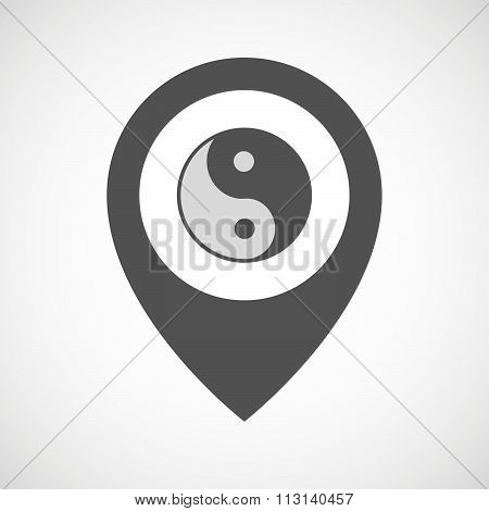 Isolated Map Marker With A Ying Yang