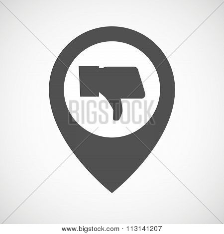 Isolated Map Marker With A Thumb Down Hand