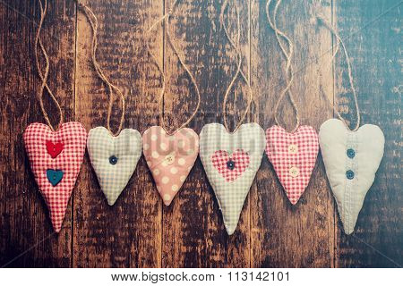 Valentines Hearts Natural Cord  On Rustic  Texture Background,