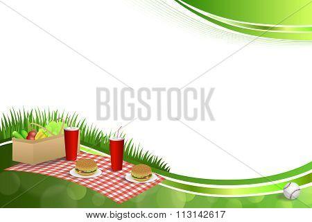 Background abstract green grass picnic basket hamburger drink vegetables baseball ball frame