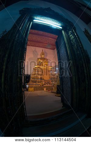 Buddha In Ancient Temple, Bangkok.