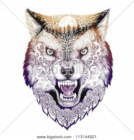 Tattoo Head Wolf Grinning