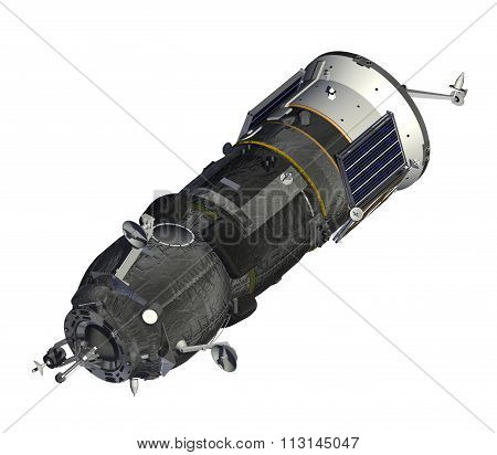 Cargo Spacecraft Closed Solar Panels