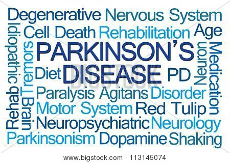 Parkinson's Disease Word Cloud on White Background