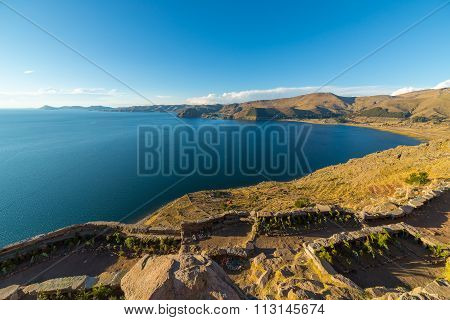 Titicaca Lake Coastline From Above, Copacabana, Bolivia