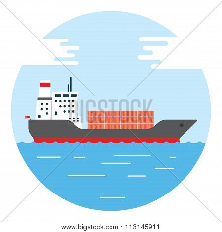 Big Dry Cargo Ship, Vector Image