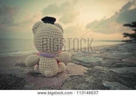 Teddy Bear Sitting Near The Beach - Vintage Tone