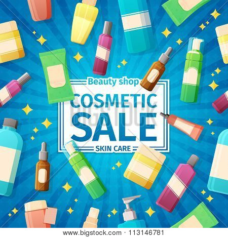 Design posters, brochures and banners on the sale of cosmetics bottles. For sales of cosmetics for s