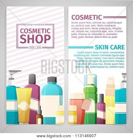 Vertical design template of brochures, booklets, posters, banners about cosmetics shop. Design with