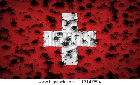 Flag of Switzerland, Swiss flag painted on wall with bullet holes