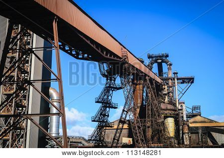 Blast furnace plant in steel industry, UK