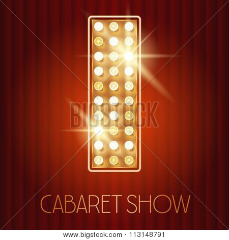 Vector shiny gold lamp alphabet in cabaret show style. Letter I