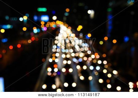 Abstact Blur Bokeh Of Evening Traffic Jam On Road In City.