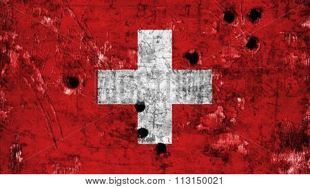 Flag of Switzerland, Swiss flag painted on metal with bullet holes