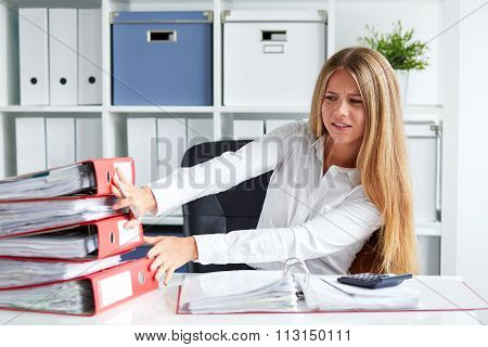 Angry Young Business Woman In The Office