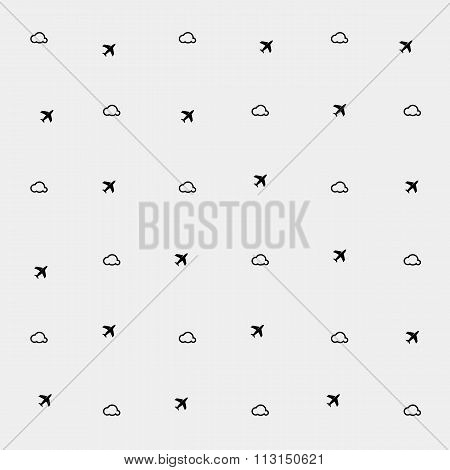 Geometric simple monochrome minimalistic vector holiday pattern, clouds and planes