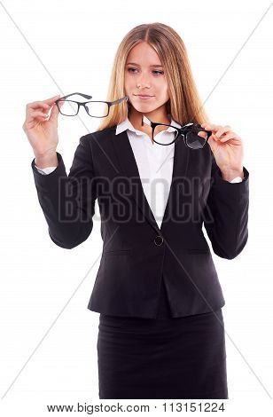 Pensive Businesswoman With Glasses,on White Background
