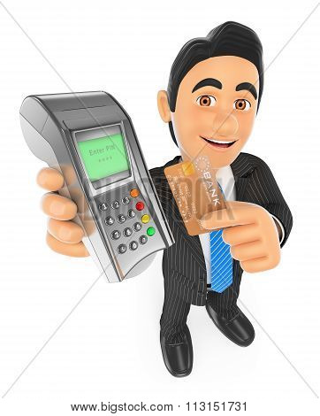 3D Businessman Paying With A Credit Card In A Bank Terminal