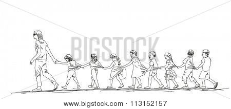 Sketch of kids walking in line, Hand drawn illustration