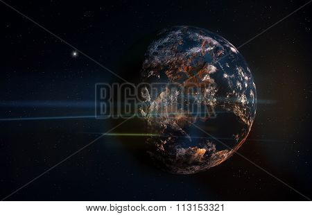 Planet In Space With Stars And Anamorphic Flares