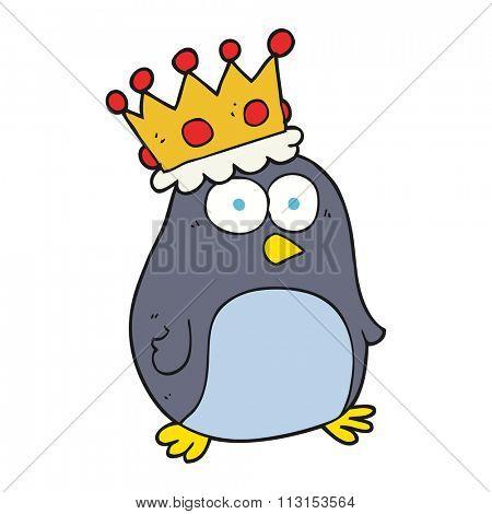 freehand drawn cartoon emperor penguin
