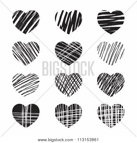 Set Of Black Hearts and Vector Illustration For Walentine's Day.