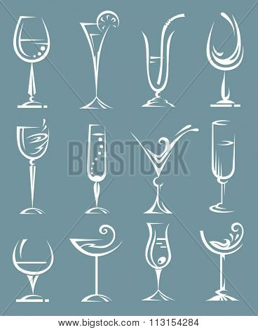 set of wine and liqueur glasses