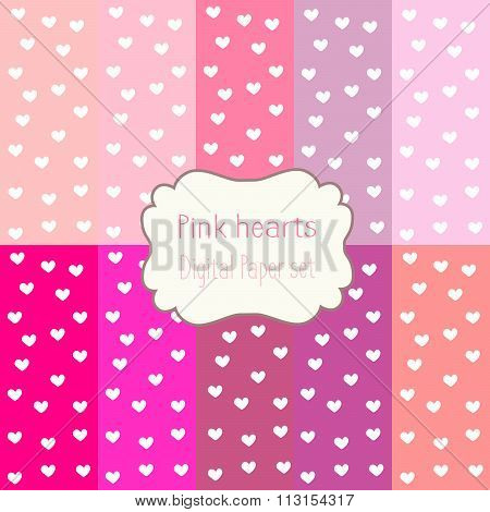 10 Digital Papers pink hearts Mixed Patterns Patterned Backgrounds, digital paper set