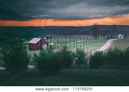 Pennsylvania Farm Dramatic Evening Sky