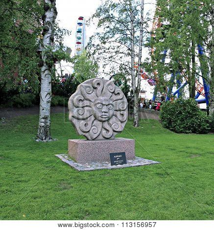 Sculpture Of Sun In The Amusement Park In Helsinki