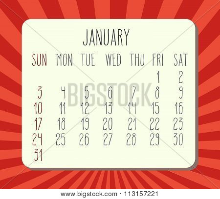 January 2016 Monthly Calendar