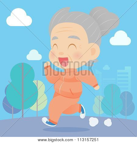 Senior Aged Woman Jogging In The Park