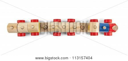 Wooden Toy Train Up View With Colorful Blocs Isolated Over White With Clipping Path