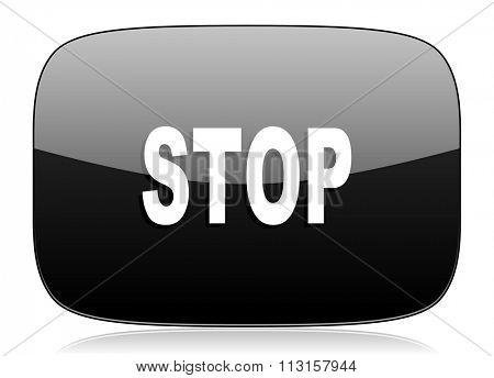 stop black glossy web modern icon