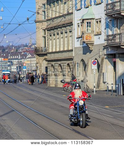 Santa Claus Riding A Motorcycle In Zurich