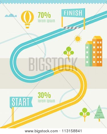 Road Map Infographics Template